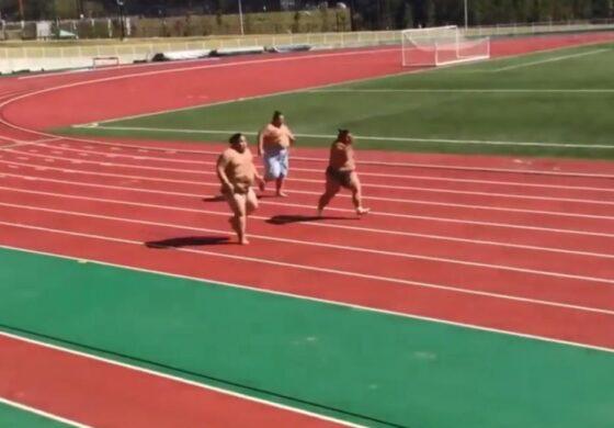 И БОЛТ НЕ ИМ Е РАМЕН: Тројца сумо борачи трчаат спринт, а луѓето плачат од смеење (ВИДЕО)